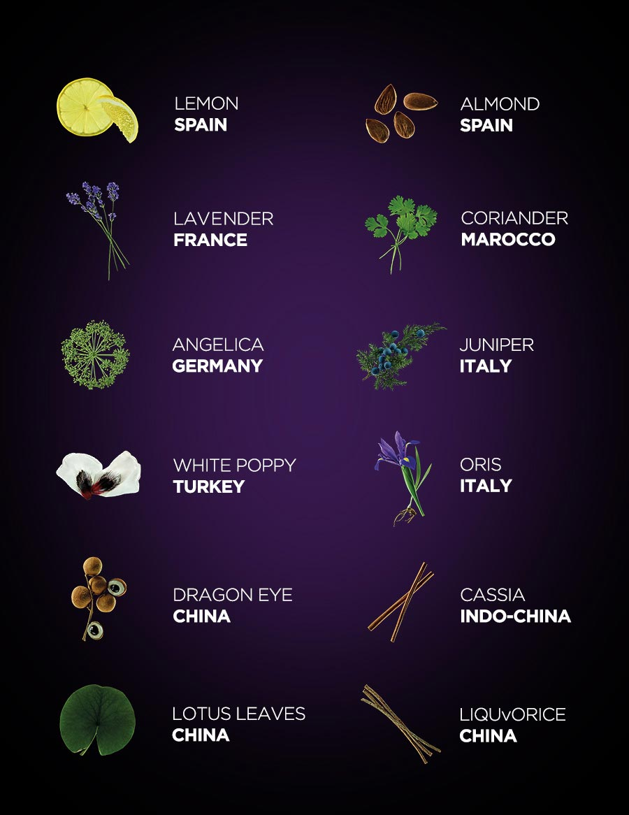 WITH 12 DIFFERENT BOTANICALS SELECTED AROUND THE WORLD. mobile