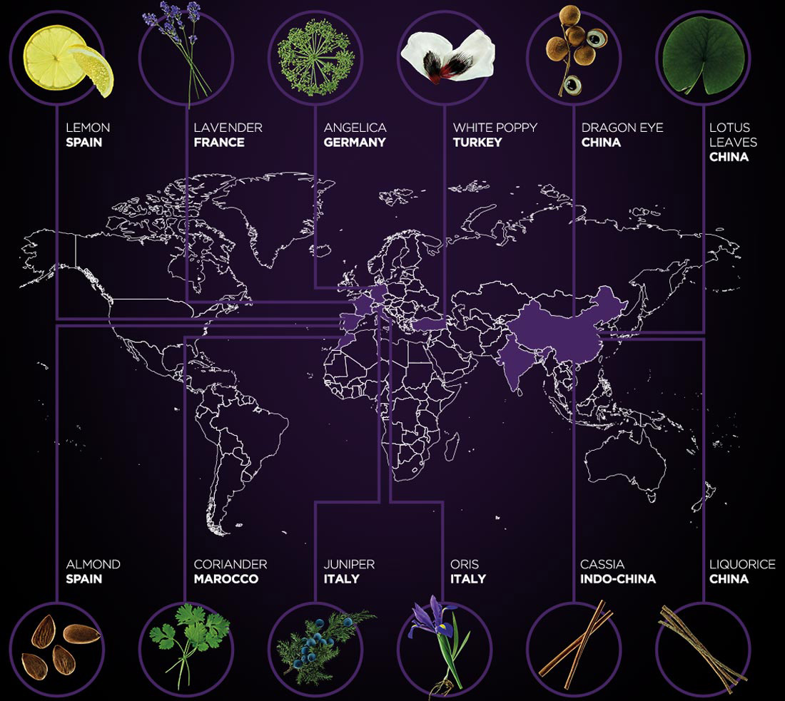 WITH 12 DIFFERENT BOTANICALS SELECTED AROUND THE WORLD. desktop